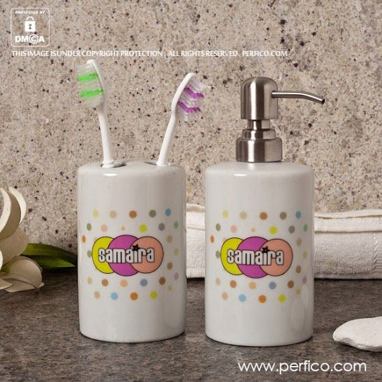 Gift for Her Polka © Personalized Bathroom Sets at Perfico.com