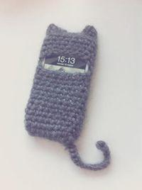 funda de movil gato - cat style lana de ganchillo crochet,ganchillo