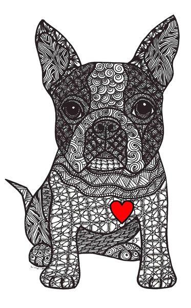 Boston Terrier Art Print                                                                                                                                                                                 Más