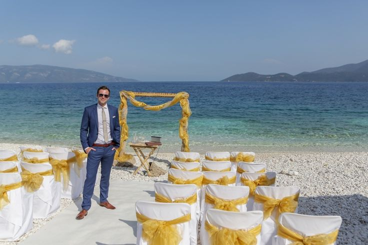 The groom is waiting for the woman of his life #weddingphotos #beachwedding #weddingingreece #mythosweddings #kefalonia