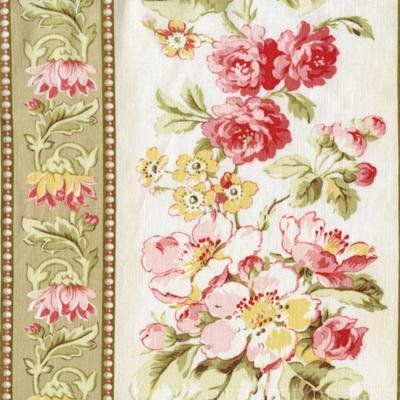 Attic Treasures 24084 Beige Floral Stripe by Red Rooster