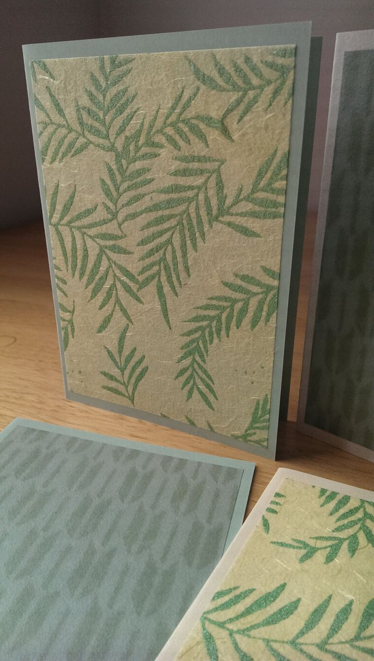 4 handmade cards, pack of 4 blank note cards, beautiful papers in theme of green, handmade stationery, blank note cards by SilverpressShop on Etsy