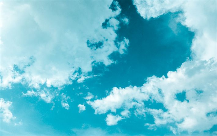 Download wallpapers 4k, blue sky, clouds, sun