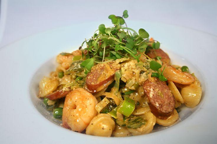 Dinnertime! Bierwurst pasta with shrimp in a cajun cream sauce ...