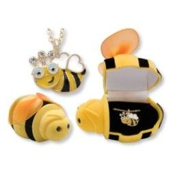 "Unique and fun! ""In The Box"" Bumble Bee Pendant. Hand painted pendant necklace in the most adorable gift box! Makes a great gift for children ! Hand painted pendant. Hinged velour Bee shaped gift box"