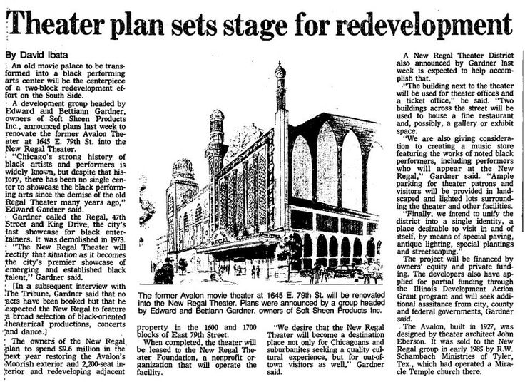 A 1986 Newspaper Article announcing plans to Restore the Avalon Movie Palace, transforming it into the performing arts center known for years as New Regal Theater.