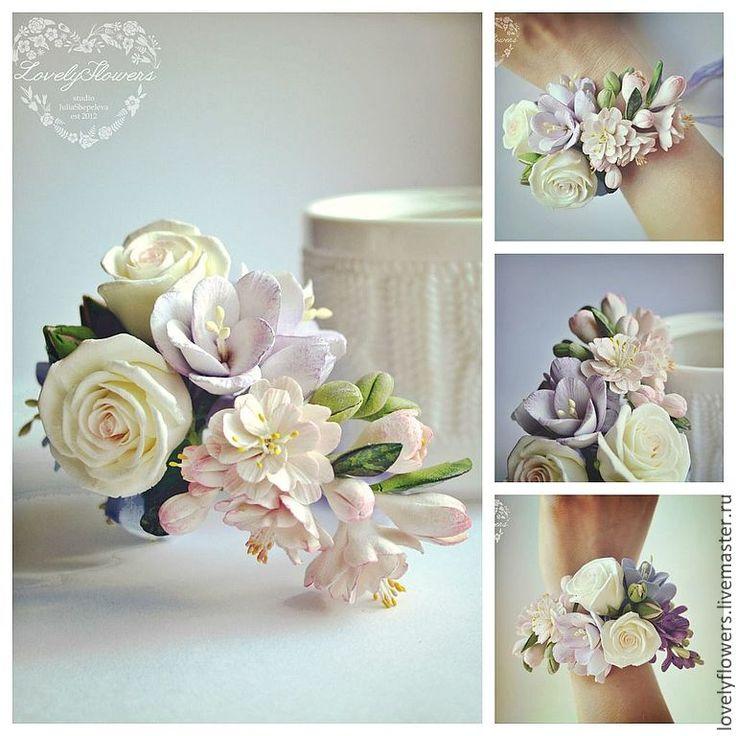 Купить Весенний браслет с цветами из полимерной глины - бледно-розовый, браслет с цветами