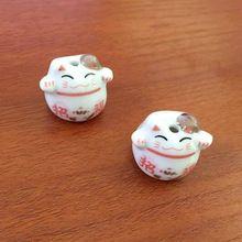 Новые Прибытия Животных Бусы 50 шт./лот Шарм Симпатичные Красочные Maneki Neko Кошка Фарфор Керамические Шарики Небольшой Моды Ремесла(China (Mainland))