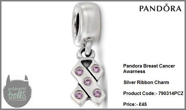 Pandora Breast Cancer Awareness Silver Ribbon Charm