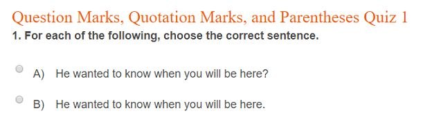 """This is an image from this resource on the Internet4Classrooms' """"Eighth Grade Language Skill Builders - Punctuation"""" resource page:    Question Marks, Quotation Marks & Parentheses.    Twelve question quiz on the correct use of punctuation. Self-checking."""