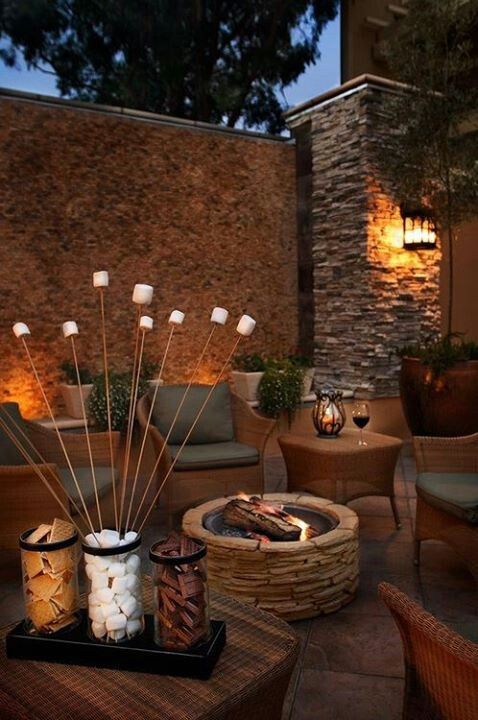 stacked stone wall and firepit design inspiration pinterest malle ext rieur et d co. Black Bedroom Furniture Sets. Home Design Ideas