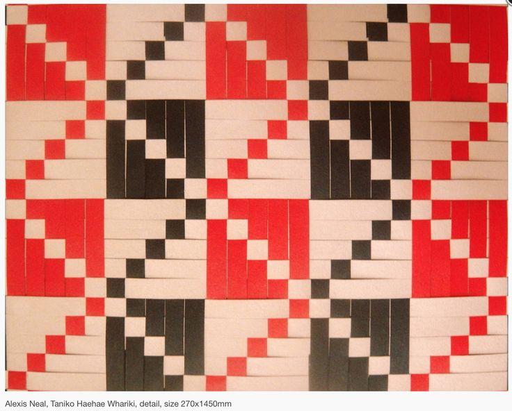 "Alexis Neal House of Treasures Series ""Tāniko Haehae Whāriki"" Detail Printed Woven Whāriki 2013"