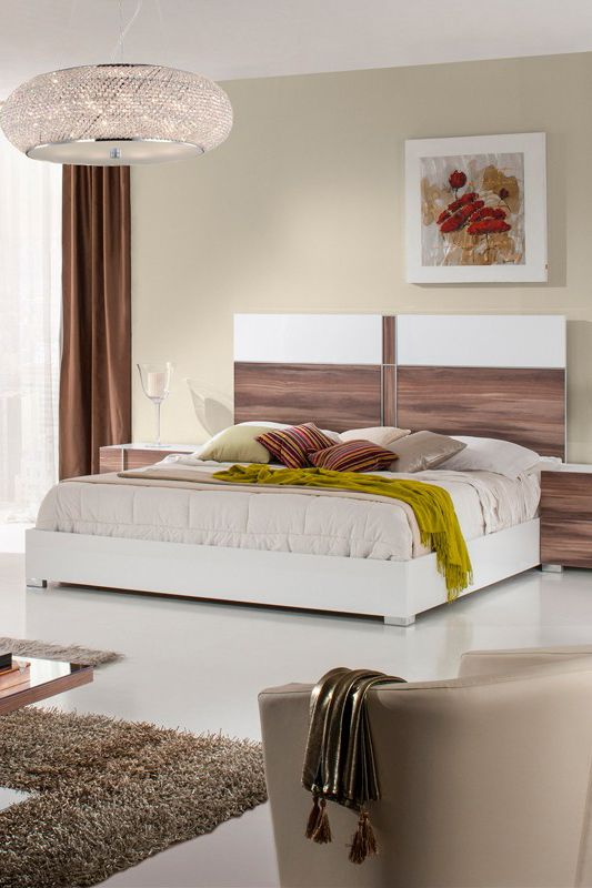 Add a modish appeal to your home with our Nova Domus Giovanna Italian Modern White & Cherry Bed~