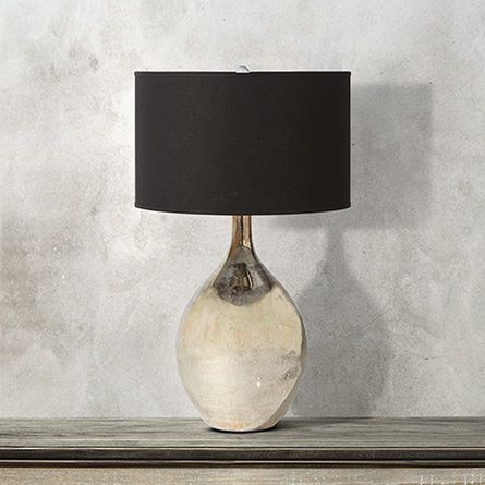Andromeda large glass table lamp with black shade
