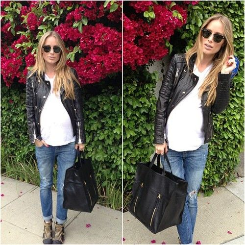 Moto leather jacket, boyfriend jeans, studded boots and black tote bag.. Everything from ANINE BING