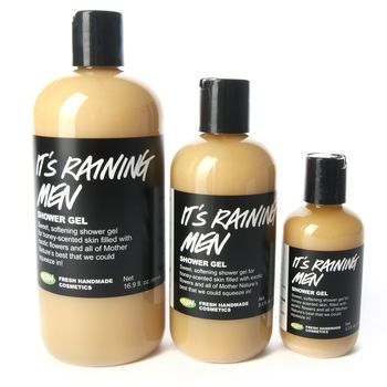 """""""It's Raining Men"""" shower gel from Lush - this stuff smells like you are washing up with a bottle of honey with a TOUCH of citrus - ITS AMAZING!"""