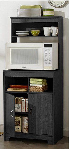 "alcove™ microwave stand with pantry storage has an ideal spot for your microwave and other kitchen essentials. Features two doors with adjustable hinges and three additional storage cubbies. 1 adjustable shelf inside lower cupboard and 5 fixed shelves Engineered wood Assembled dimensions: approx. 23-1/2""W x 15-3/4""D x 56-1/4""H Assembly required"