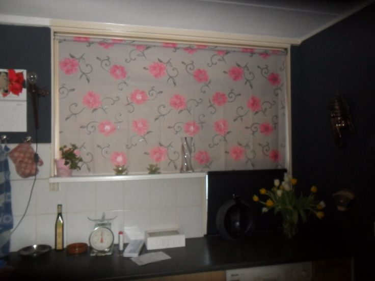 Make your own rollerblind from an old one. Take of the old facbric and just replace it with your own (strong) fabric Why didn't i think of this?:):)  [Dutch website - rolgordijn]