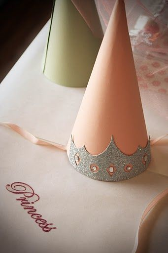 Princess Party....paper cones would be so easy and maybe glue lots of ribbon in the back hanging long.....your can get ribbon at dollar store too!