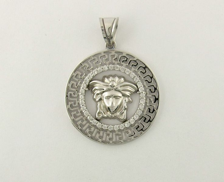 versace 925 Sterling Silver Medusa Head Greek Design Medallion Pendant Tag #New #Pendant