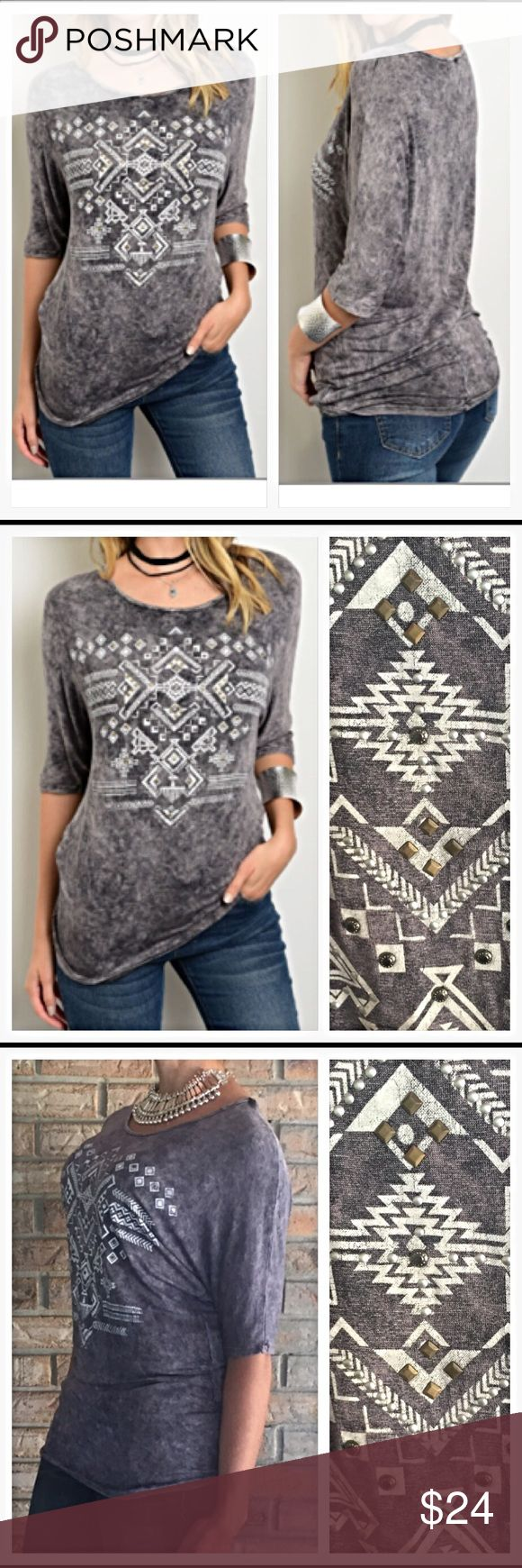 """Tie Dye Tribal Stud Soft Grey Tee S colors vary This gorgeous Charcoal Gray Tie Dye Studded Tribal Tee is a year round must. Wear alone or with a jacket or cardi. 95% rayon/5% spandex. TONS of stretch to fit perfectly. Each tee's color varies due to unique tie dye effect. gray/white tribal design/silver studs & 3/4 sleeves. New from manufacturer without tags   Small Chest laying flat 17.5"""" Length 23"""" Tops Tees - Short Sleeve"""