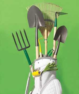 golf bag doubles as gardening tool caddy - DUH. What a great