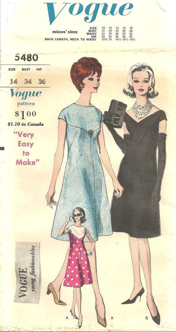 Vogue 5480 Dress sz 14 Vintage 1960s Pattern by designersreserve