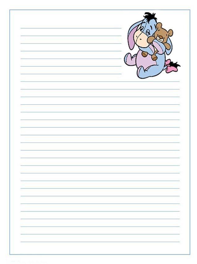 Imprime Gratis Papel De Cartas Para Ninos De Winnie The Pooh Con El Burrito Igor Hojas De Notas Hojas Decoradas Para Escribir Hojas Decoradas Para Imprimir