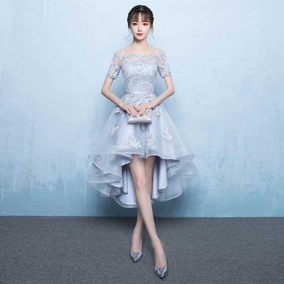앞에서 긴 신부 들러리 드레스 워드 어깨 여성 상당히 얇은 드레스 연회 드레스 2017 새로운 패션 짧은 이브닝 드레스 전에