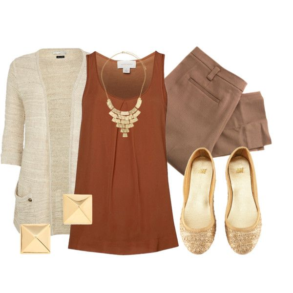 A fashion look from August 2012 featuring scoop neck tank, brown tops and slim fit pants. Browse and shop related looks.