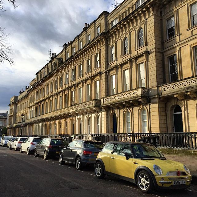 The lovely Georgian houses in Victoria Square Clifton #Bristol - when I saw that yellow mini I immediately thought of @porthjess who is so adept at finding photogenic cars around Bristol   If you enjoy my blog and photos I'd love you to vote for me in the