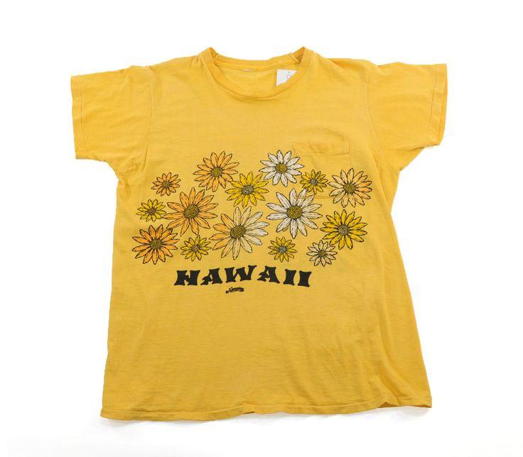 70's HAWAII 花柄 ポケット プリントかぶり 両面染み込みTシャツ 実寸(M位) イエロー