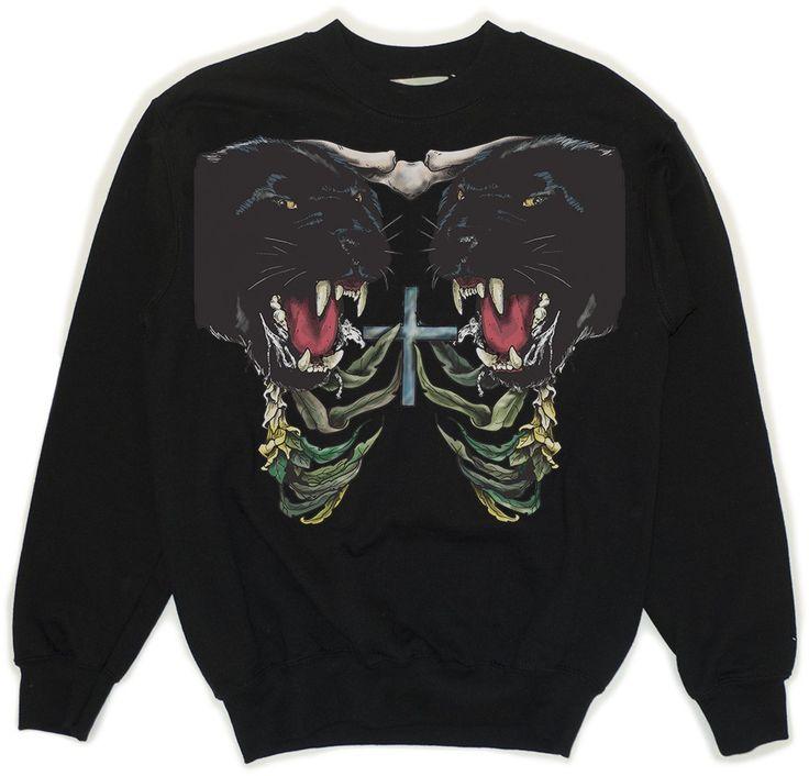 Black Sweatshirt With Panther Print via KOLYA KOTOV.