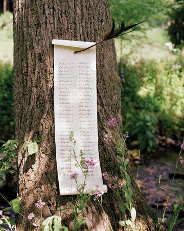 ingenious idea for a seating chart for outdoor wedding - posted to tree