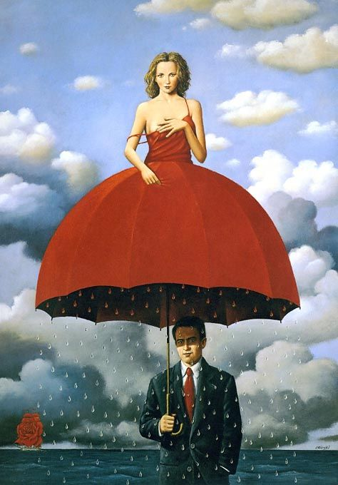 "Rafal Olbinski immigrated to the US in 1981, where he soon established himself as a prominent painter, illustrator and designer. Olbinski's work is very similar to the work of the famous Belgian surrealist Rene Magritte; Olbinski describes his approach to painting and illustrating as ""poetic surrealism"". He has cited his influences as ""everybody"", specifically Saul Steinberg, Milton Glaser, Marshall Arisman and Brad Holland."