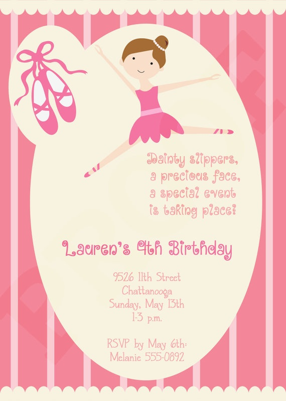 Printable Ballerina Invitation - Ballerina Birthday Party Invitation - Girl Party - Ballerina Recital - Dance Recital. $15.00, via Etsy.
