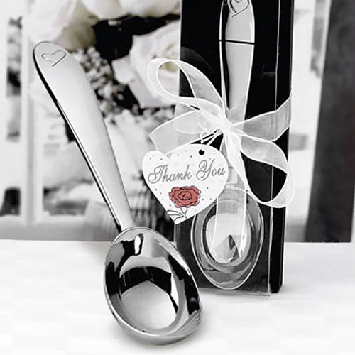 """These classic ice cream scoops are ideal as wedding favors, bridal shower favors or birthday party favors.  Each chrome scoop comes packaged in a stylish black gift box with a clear lid, accented with an organza bow and """"thank you"""" tag."""