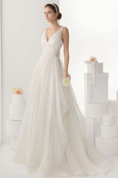 simple v neck empire a line backless chiffon wedding dress with sweep train jswd0254