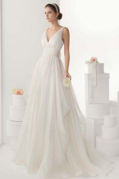 Simple V-neck Empire A-line Backless Chiffon Wedding Dress with Sweep Train JSWD0254