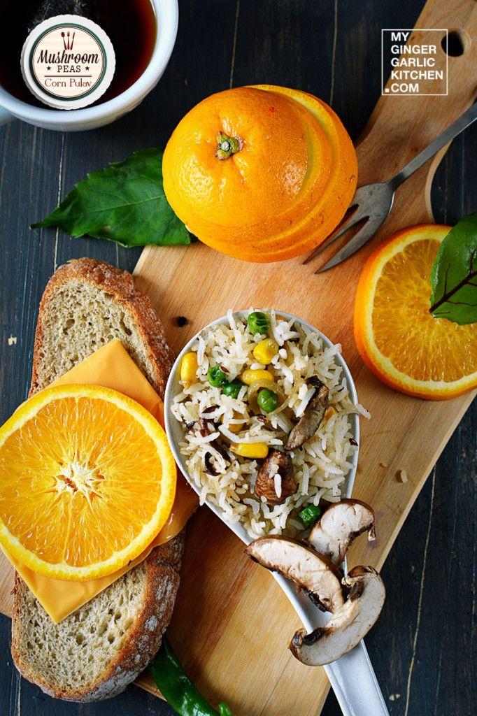 Mushroom Peas Corn Pulav – [Recipe] #food #vegetarian #vegan #mushroom #indianfood #pulav #rice #recipesandfood