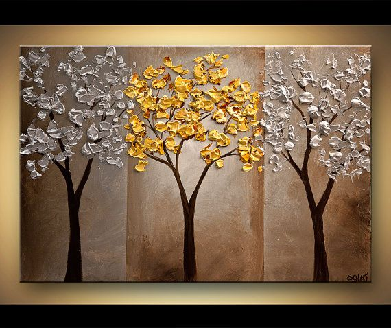 ORIGINAL Abstract Contemporary Gold Silver Blossom Acrylic Tree Painting Landscape Palette Knife Texture by Osnat Ready to Hang #buyart #cuadrosmodernos #art