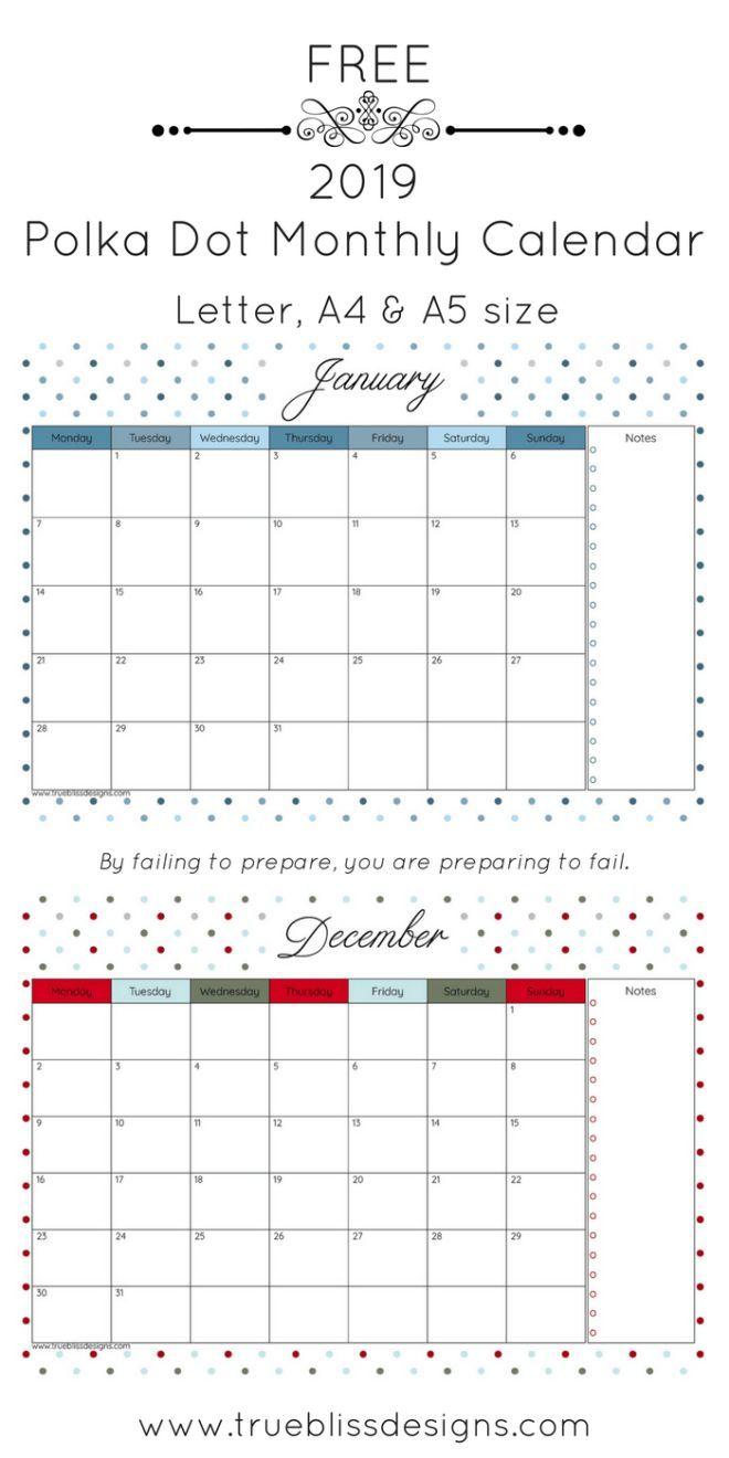 2019 Printable Calendar Free Printable Calendars Pinterest