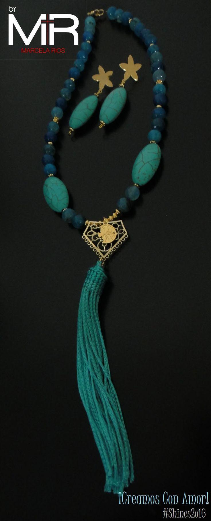 Línea: Shines2o16 Ref: VOO5 Cop:$43.ooo Descripción: Collar tipo gargantilla, hecho con ágatas color azul celeste, piedras turquesa, brooms color azul turquesa y separadores en gold-filled. (incluye aretes) ¡Te encantará!  *Sujeto a disponibilidad.