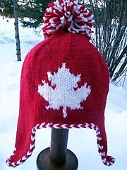 Going for gold! FREE Pattern Ravelry: Maple Leaf Earflap Hat pattern by Michele C Meadows