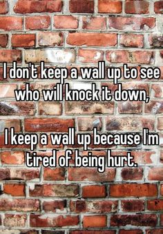 I don't keep a wall up to see who will knock it down, I keep a wall up because I'm tired of being hurt. ... somewhat true!