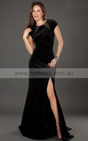 Short Sleeves None Jewel Floor-length Satin Party Dresses d130622171