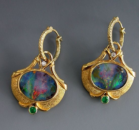 22K Gold, Boulder Opal Split, Emerald and Diamond Earrings by Athenae Inc ~ x #opalsaustralia