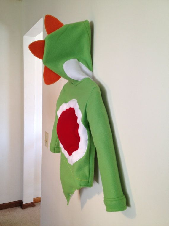 Nintendo Mario Bros. inspired Yoshi fleece hoodie shirt (child sizes) via Etsy