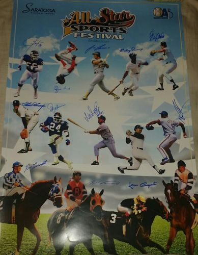 Multi sport signed 24x36 Poster lawrence Taylor Ozzie Smith Wade Boggs 12 autos