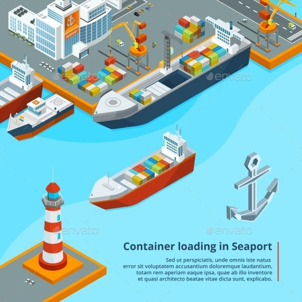 Dry cargo ship with containers. Maritime industrial work. Isometric illustrations. Ship transport in sea port, isometric cargo transportation